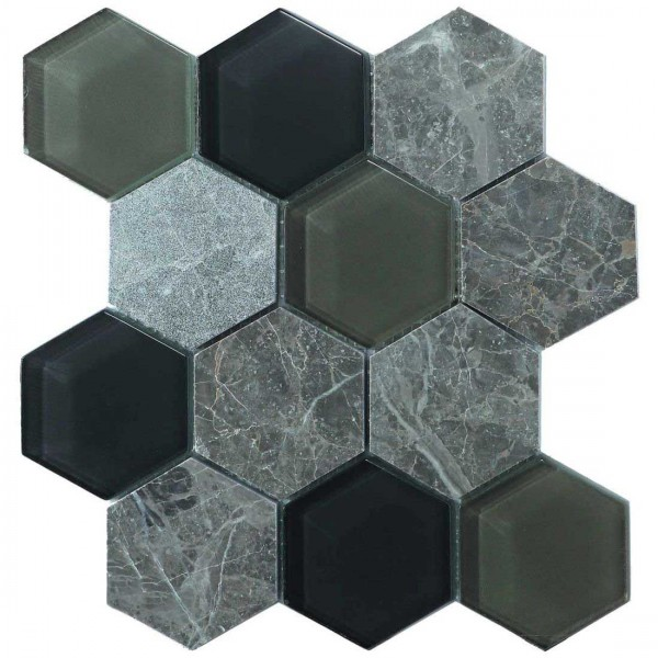 Hex Mosaic 23.1x26.7cm Grey Matt
